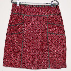NWT Karma East Red Green pattern skirt